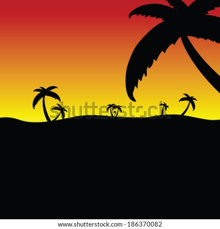 palm in the nature vector illustration