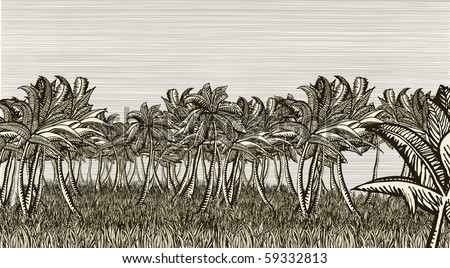 Palm landscape - stock vector