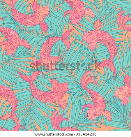 Palm Leaf and Japanese Fish, seamless pattern. hand drawn texture. Cloth and rug design. Purple, blue, bright pink, yellow, vector backdrop. - stock vector