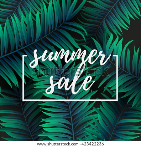 Palm leaf green and cyan color. Summer sale . Web banner or poster for e-commerce, on-line cosmetics shop, fashion & beauty shop, store.  Vector illustration. EPS 10 - stock vector