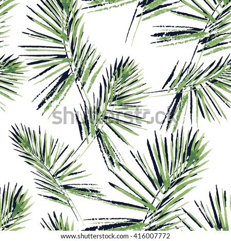 Palm leaves pattern. Seamless, hand painted, watercolor pattern. Vector background. - stock vector
