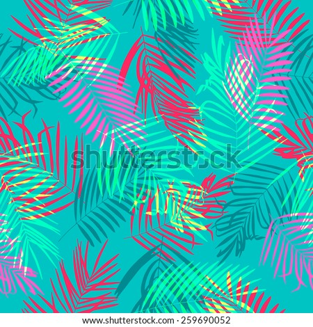 Palm leaves seamless vector colored pattern. - stock vector