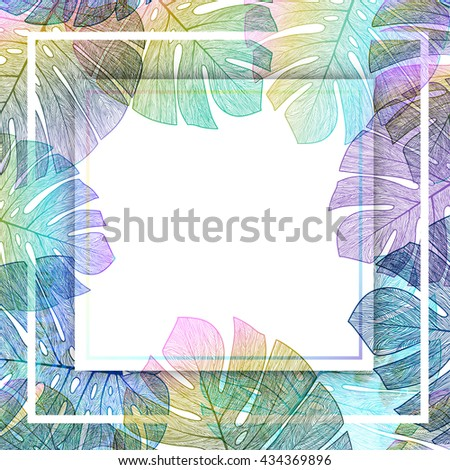 Palm leaves tropical background, vector summer card. EPS10. - stock vector