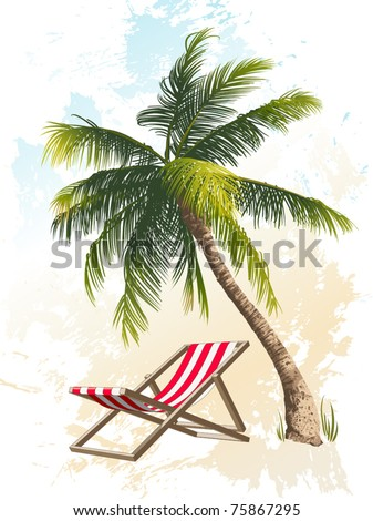 Palm tree and beach chair - stock vector