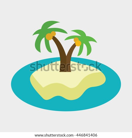 Palm tree and island icon illustration