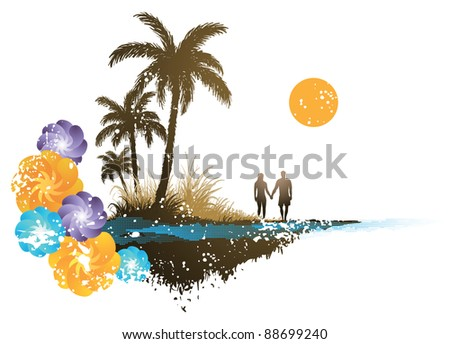 Palm Tree Background - stock vector