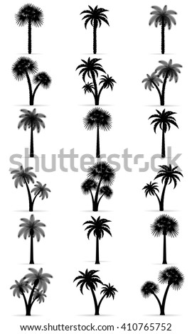 palm tree black outline silhouette vector illustration isolated on white background - stock vector