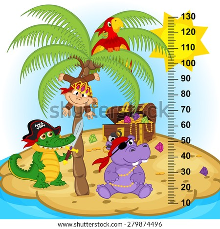 palm tree height measure (in original proportions 1:4) - vector illustration, eps