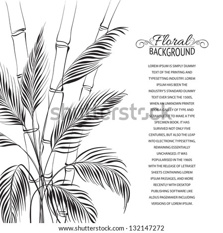 Palm tree over bamboo forest, isolated on the white. Vector illustration. - stock vector