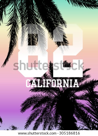 Palm tree print with sporty print for t-shirt and other uses.  - stock vector