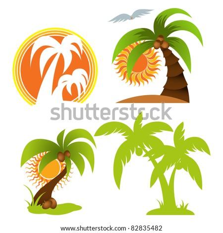 Palm tree set - stock vector