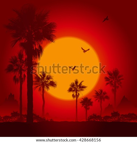 Palm tree silhouettes at sunset - stock vector