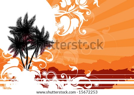 palm trees against the sun decorated with decorative elements - stock vector