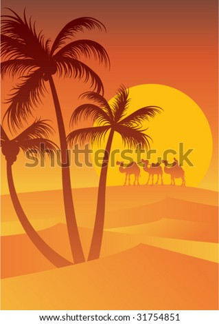 palm trees and caravan at sunset - stock vector