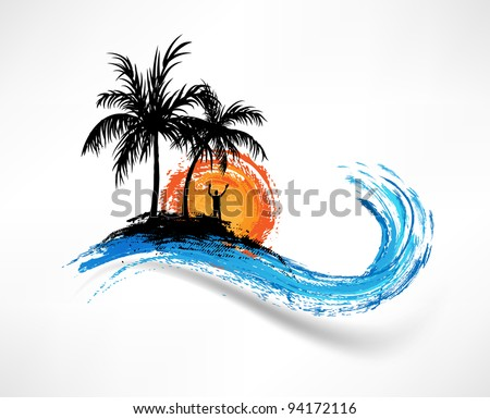 Palm trees and ocean wave. Man against the sunset - stock vector