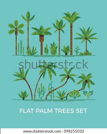 palm trees and other tropical exotic plants vector illustration set. Lush forest. Rainforest jungle trees, plants, shrubs and bushes, paradise beach resort crooked palm trees, trendy flat design - stock vector