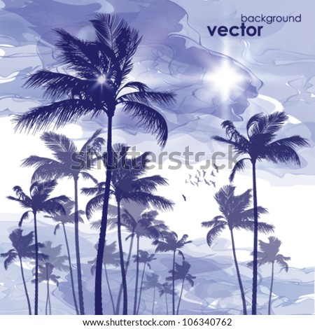Palm trees at cloudy sunset. - stock vector