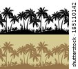Palm trees, flowers and grass, black and brown isolated silhouettes, set seamless patterns. Vector - stock vector