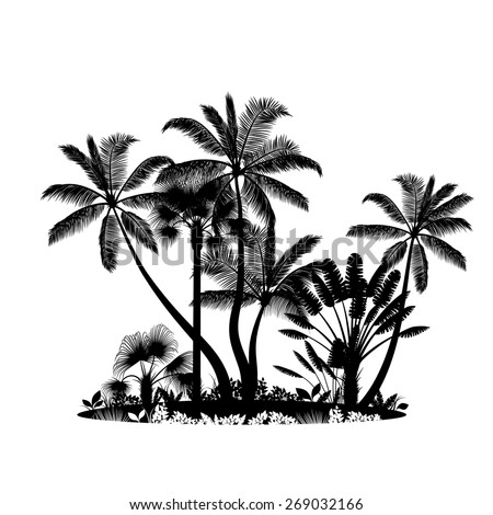 Palm trees island isolated on white - stock vector