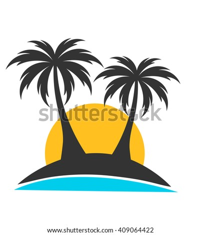 Palm trees on island in sunset. Vector illustration