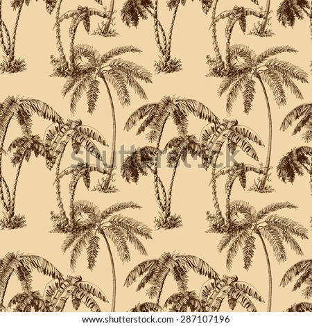 Palm trees seamless pattern - stock vector