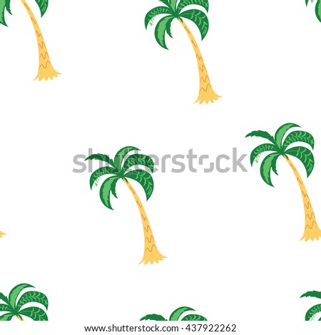 Palm trees. Seamless pattern. Vector illustration on a white background.