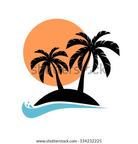 palm trees silhouette on island vector stock vector 334232225 rh shutterstock com Vector Small Island Vector Small Island