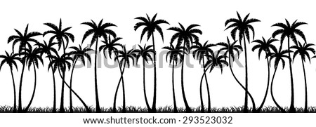 Palm trees silhouette seamless vector pattern - stock vector