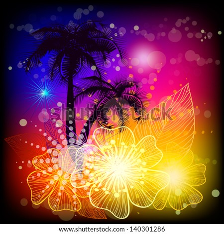 Palm trees with exotic flowers - stock vector