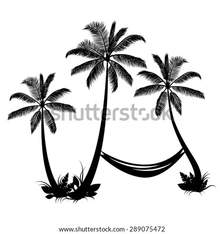 Palm trees with hammock isolated - stock vector