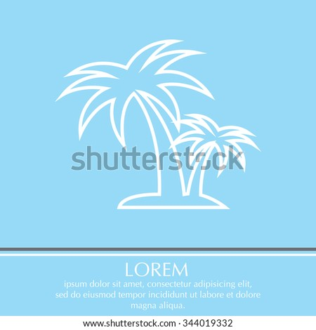 palm tropical tree line icon silhouette. vector illustration