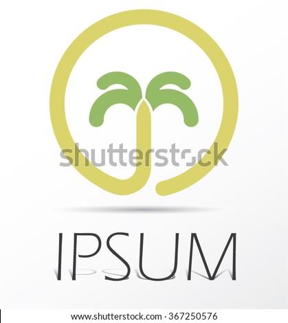 Palm tropical tree symbol,  island logo vector - stock vector