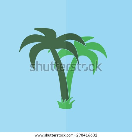 palm tropical tree vector icon. Flat design