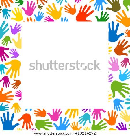palms hands frame illustration background - stock vector