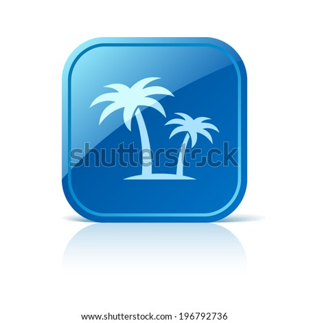 Palms icon on blue web button - stock vector