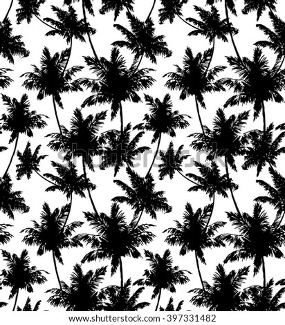 Palms seamless pattern.Vector. black and white