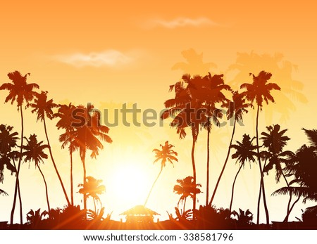 Palms silhouettes at orange sunset sky, vector background - stock vector