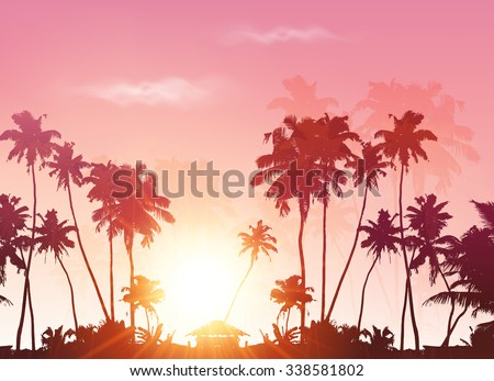 Palms silhouettes at pink sunset sky, vector background - stock vector