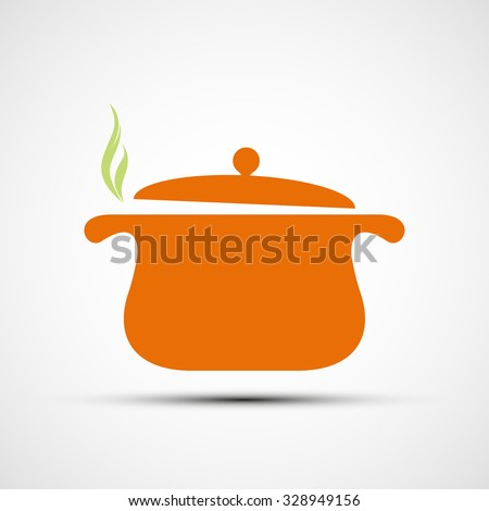 Pan for cooking. Flat design. Stock vector illustration. - stock vector