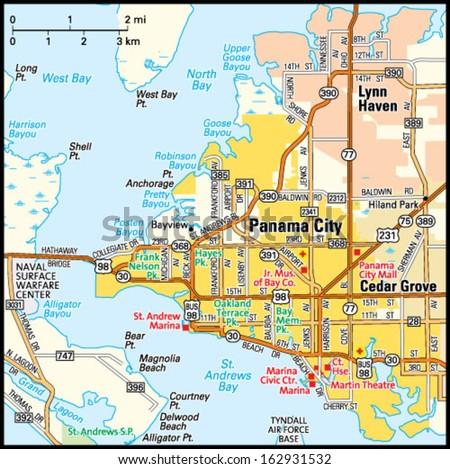 Panama City Florida Area Map Stock Vector (Royalty Free) 162931532 ...