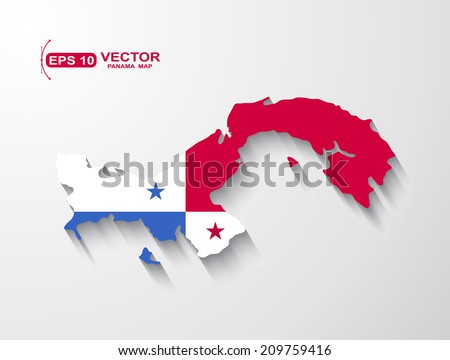 Panama map with shadow effect - stock vector