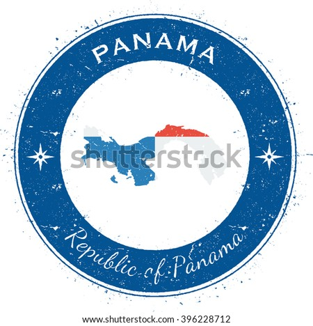 Panama patriotic badge. Grunge rubber stamp with national flag, map and the Panama written along circle border. Patriotic badge of Panama vector illustration.