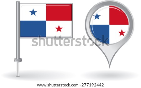 Panamanian pin icon and map pointer flag. Vector illustration. - stock vector