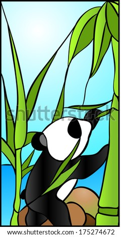 Panda  baby / stained glass window - stock vector
