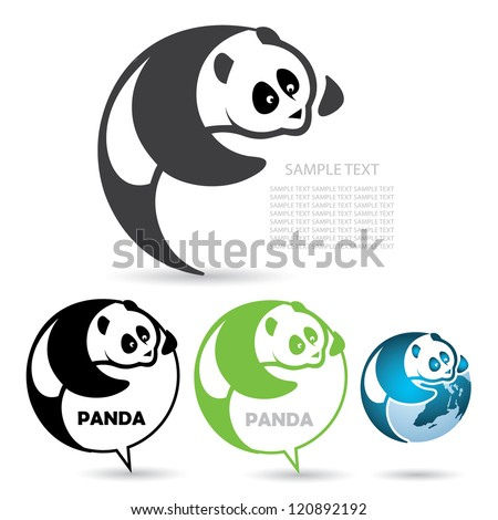 Panda badge - vector illustration - stock vector