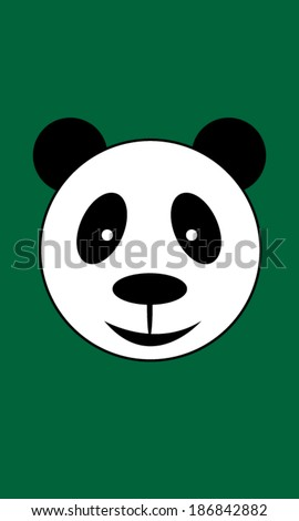 Panda bear head vector illustration on green background - stock vector