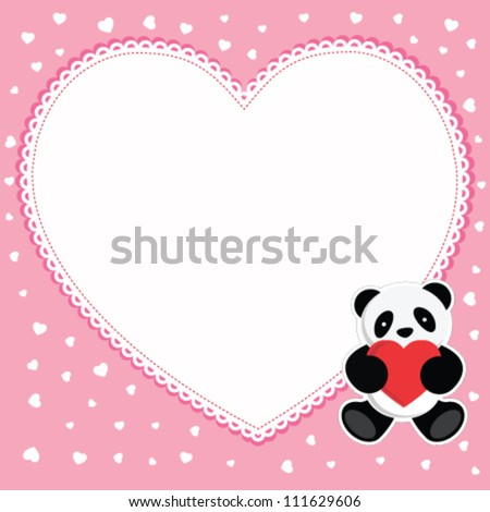 Panda bear with red heart. Valentine card. - stock vector