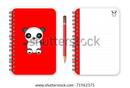 Panda cover notebook and pencil in red collection - stock vector