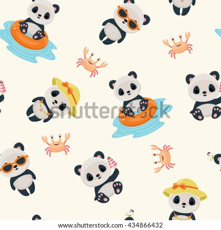 Panda during summer time seamless pattern. Cute asian bear. Hot summer days. Summer vector wallpaper