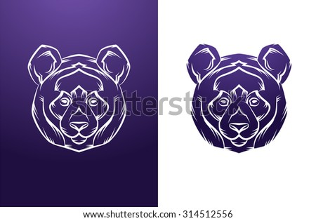 Panda Head Vintage label. Retro vector design graphic element. This is vector illustration ideal for a mascot and tattoo or T-shirt graphic.